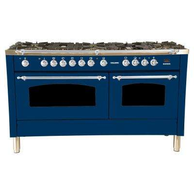 60 in. 6 cu. ft. Double Oven Dual Fuel Italian Range True Convection, 8 Burners, Griddle, LP Gas, Chrome Trim in Blue