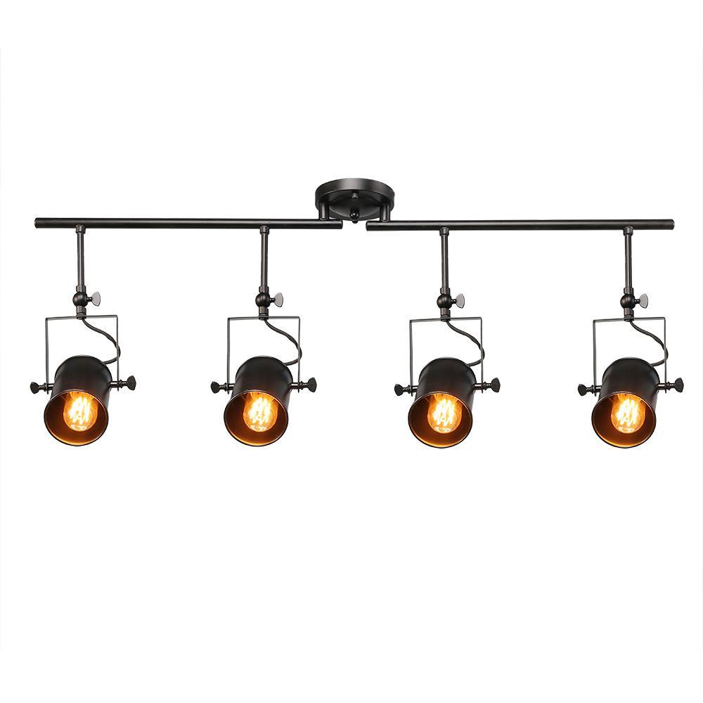 4 Light Black Track Lighting Kit