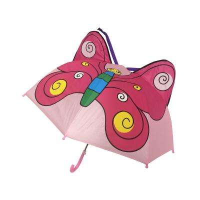 Kingstate 38 in. Arc Childrens Animal Head Umbrella in Butterfly