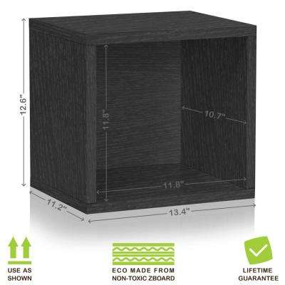 Connect System 13.4 in. x 12.6 in. zBoard Stackable Open Storage 1-Cube Organizer Unit in Black Wood Grain