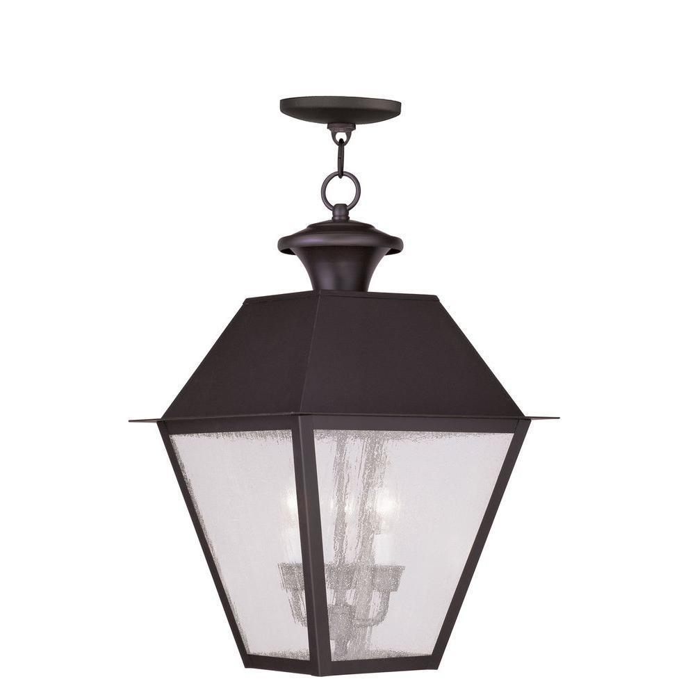Livex Lighting Providence 3-Light Bronze Outdoor Incandescent Hanging Lantern