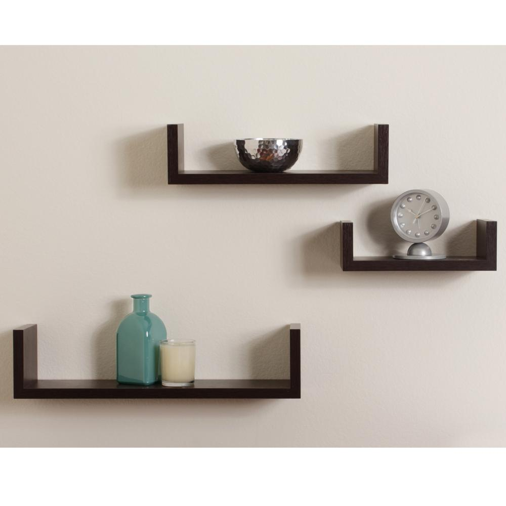 17 in. x 4 in. Walnut Grain Floating 'U' Laminated Shelves