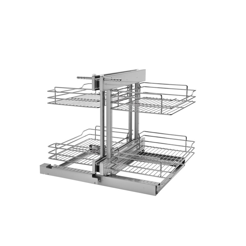 Rev A Shelf 21 In H X 3225 W 2025 D Blind Corner Cabinet Pull Out Chrome 2 Tier Wire Basket Organizer