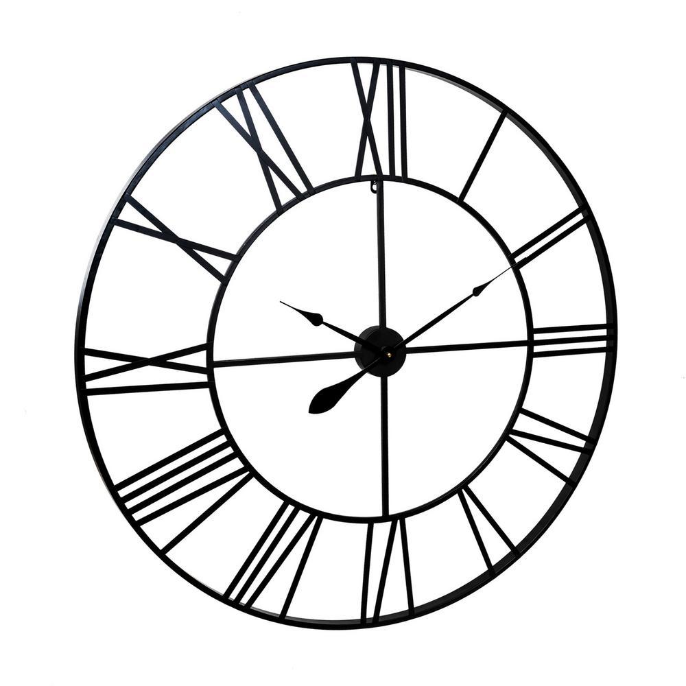 Open-Box Retro 36 1//2 inch Dia Large Galvanized Metal Wall Clock Roman Numerals