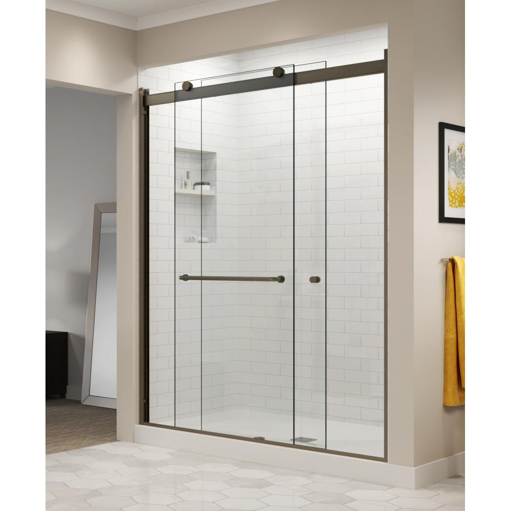Basco Vinesse 47 In X 76 In Semi Frameless Sliding Shower Door And