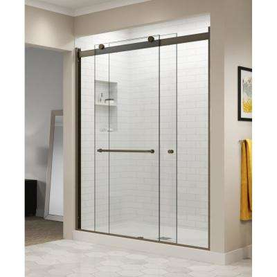 Rotolo 60 in. x 70 in. Semi-Frameless Sliding Shower Door in Oil Rubbed Bronze with Handle