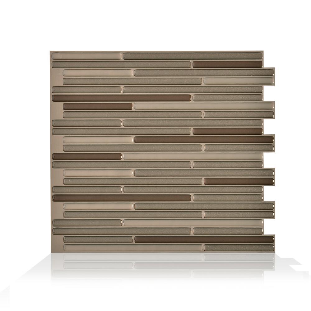 Loft Maronne Bonze 10.20 in. W x 9.10 in. H Peel and Stick Self-Adhesive Decorative Mosaic Wall Tile Backsplash (6-Pack)