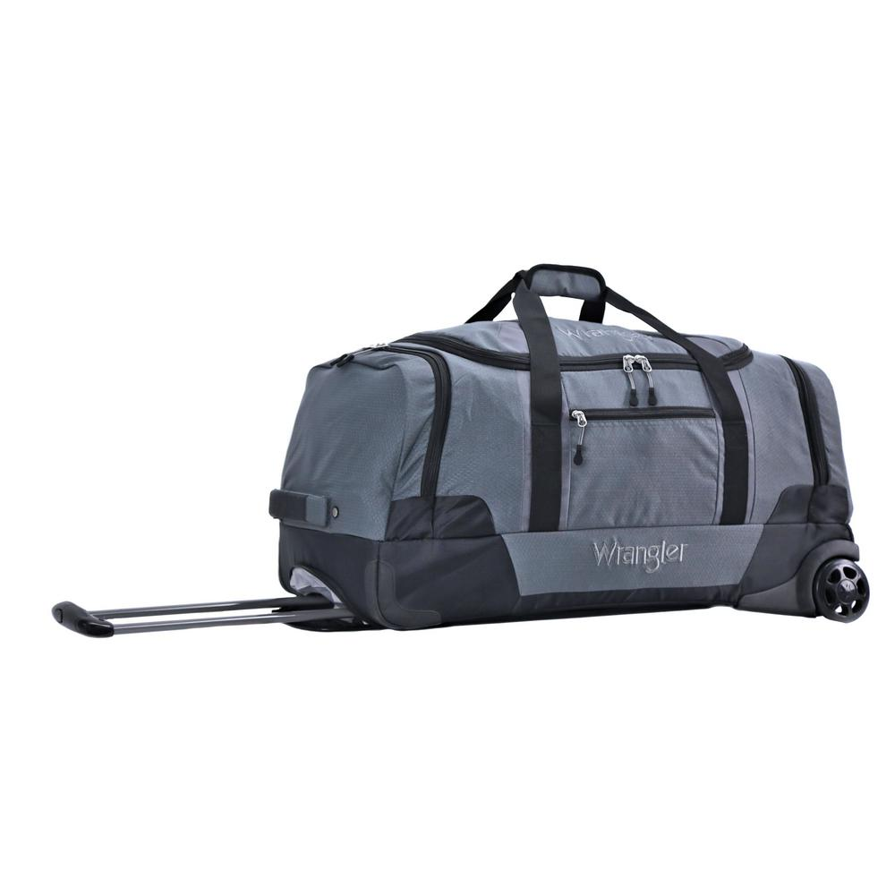 Gray 2 Section Drop Bottom Rolling Duffel Bag