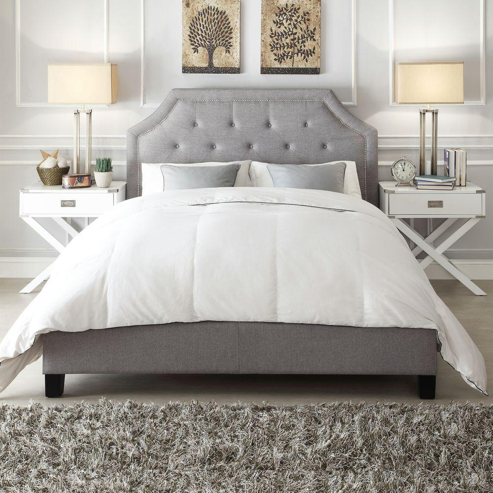HomeSullivan Monarch Grey King Upholstered Bed