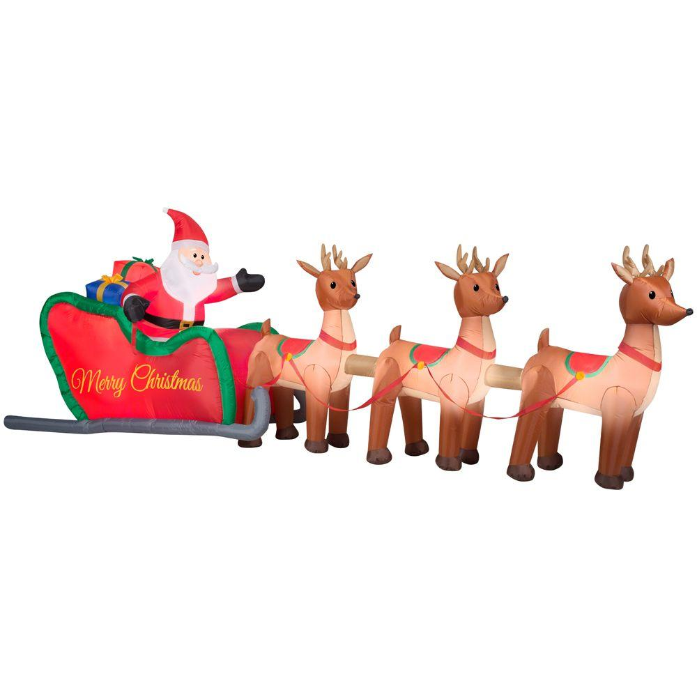 ideas for christmas ceiling decorations - Home Accents Holiday 16 ft W Inflatable Santa in Sleigh