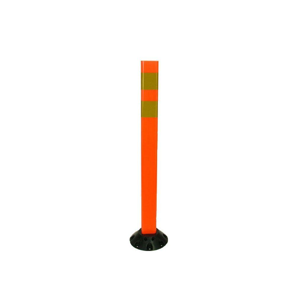 36 in. Orange Delineator Post with Base and High-Intensity Yellow Band