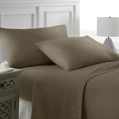 Performance Taupe Twin XL 4-Piece Bed Sheet Set