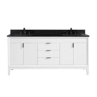 Emma 73 in. W x 22 in. D x 35 in. H Bath Vanity in White with Granite Vanity Top in Black with White with Basins