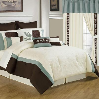 Anna 25-Piece Cream King Bed in a Bag Set