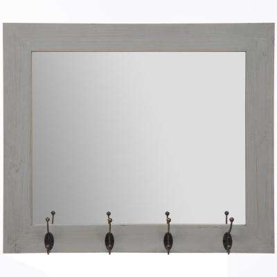 Rustic Entryway Hooks Rectangular Gray Decorative Mirror