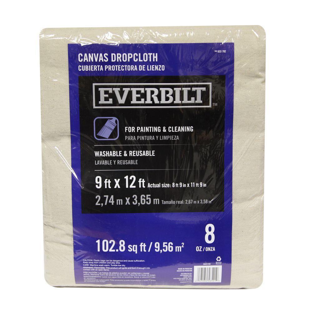 Everbilt Everbilt 9 Ft x 12 Ft Heavyweight Canvas Drop Cloth, Beige / Cream
