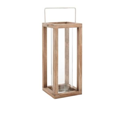 14 in. Wood and Glass Outdoor Patio Lantern