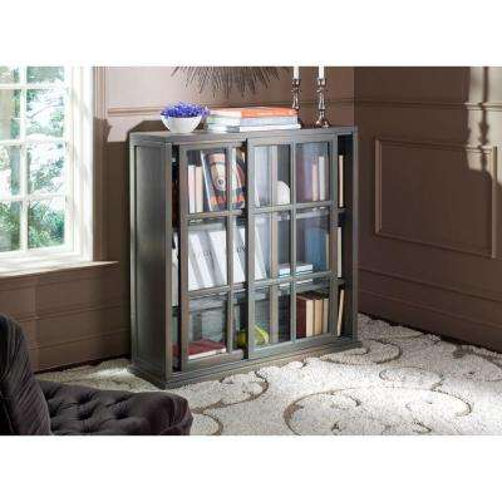 Greg Ash Grey Glass Door Bookcase