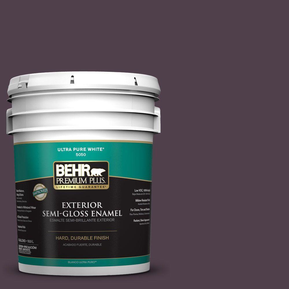 BEHR Premium Plus 5-gal. #T13-10 Plum Orbit Semi-Gloss Enamel Exterior Paint