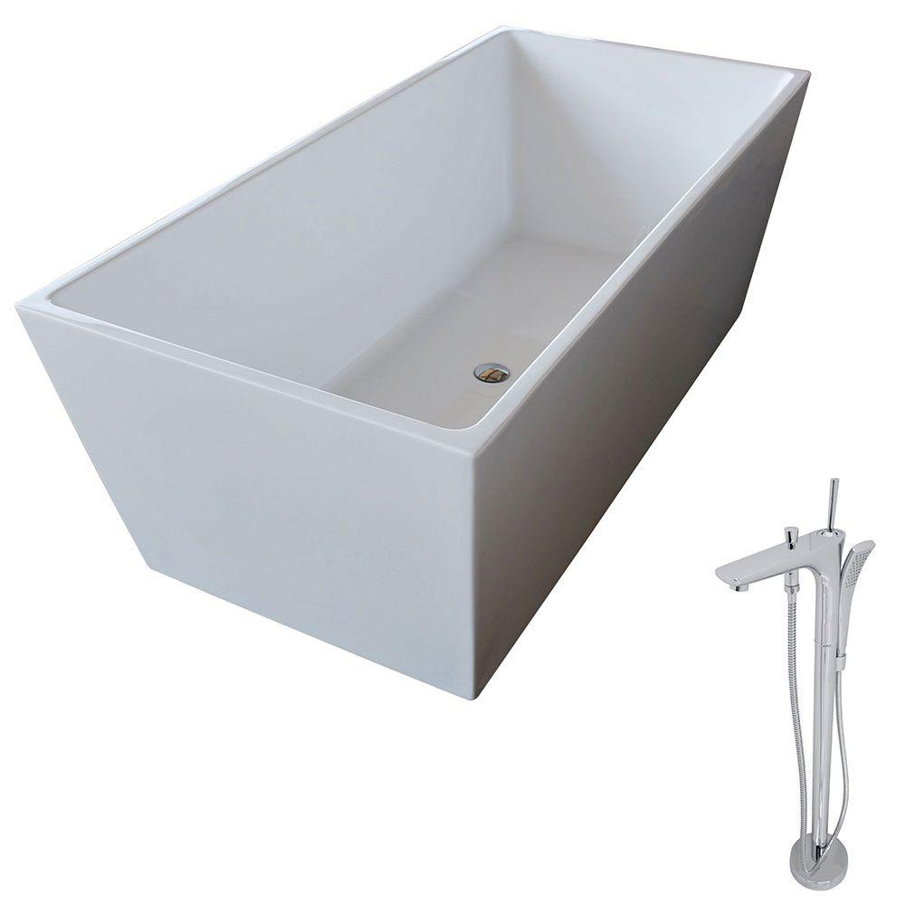 Fjord 66.8 in. Acrylic Classic Freestanding Flatbottom Non-Whirlpool Bathtub in