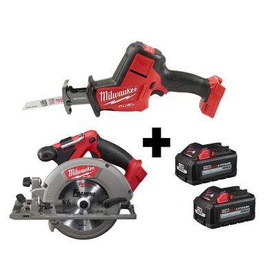 M18 FUEL 18V 6-1/2 in. Brushless Cordless Circular Saw & M18 FUEL HACKZALL Reciprocating Saw w/ (2) M18 6.0Ah Batteries