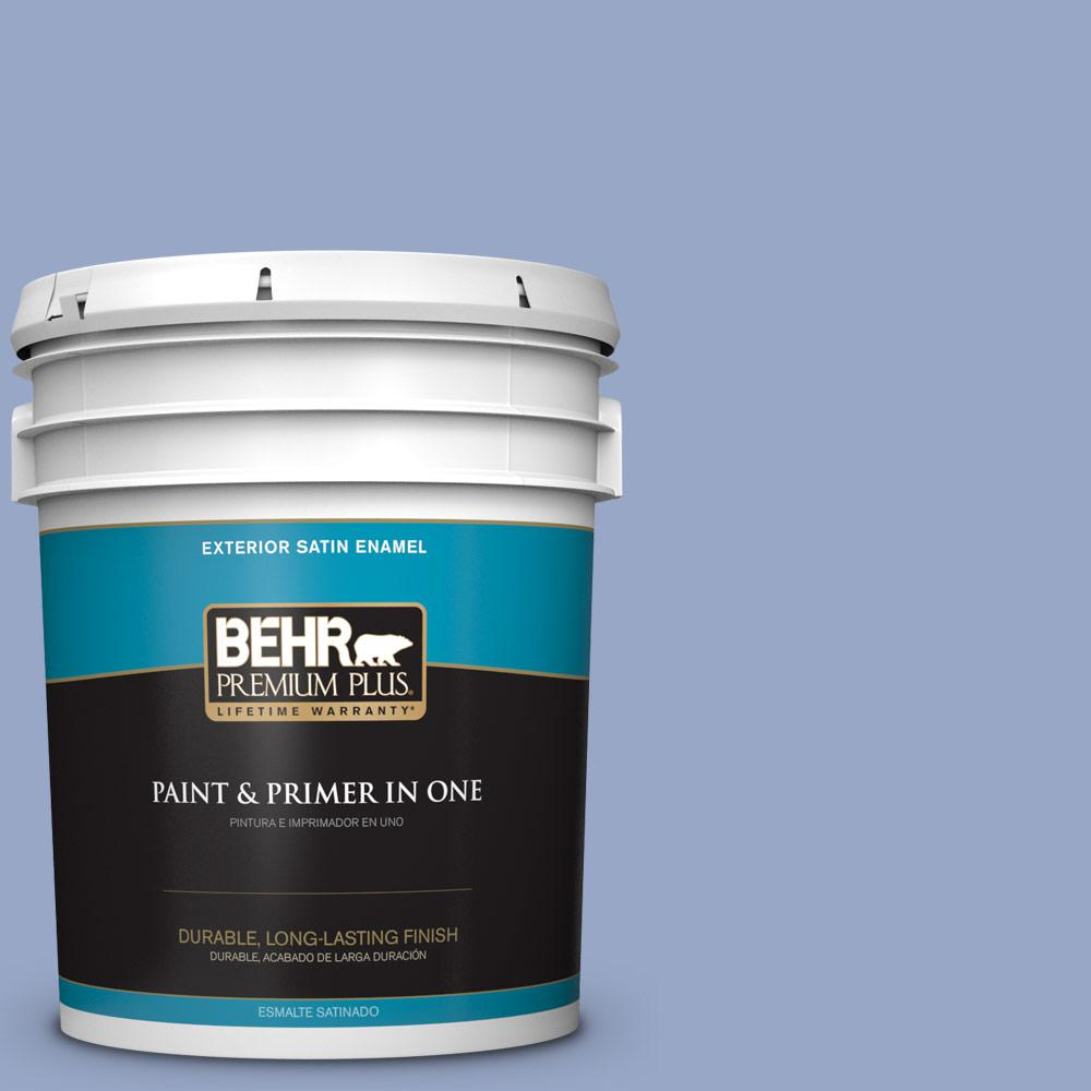 5 gal. #PPU15-13 Blue Hydrangea Satin Enamel Exterior Paint