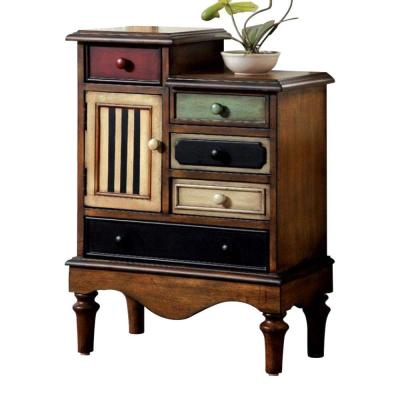 Vintage Style Walnut Brown Accent Wooden Chest with 5-Drawers 30.25 in. H x 22 in. W x 11.75 in. D