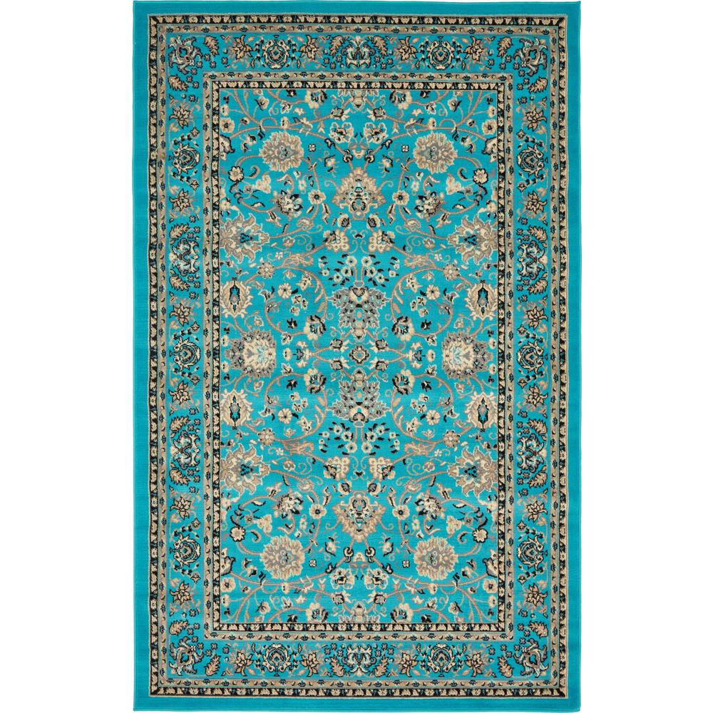 Linoleum Rug Turquoise Terracotta Area Rug Or Kitchen Mat: Unique Loom Kashan Turquoise 5 Ft. X 8 Ft. Area Rug