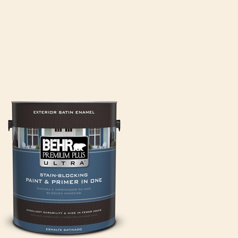 BEHR Premium Plus Ultra 1-gal. #W-F-300 Cotton Whisper Satin Enamel Exterior Paint