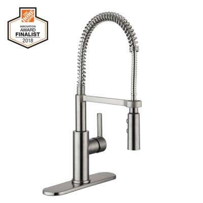 Statham Single-Handle Coil Springneck Pull-Down Sprayer Kitchen Faucet in Stainless Steel