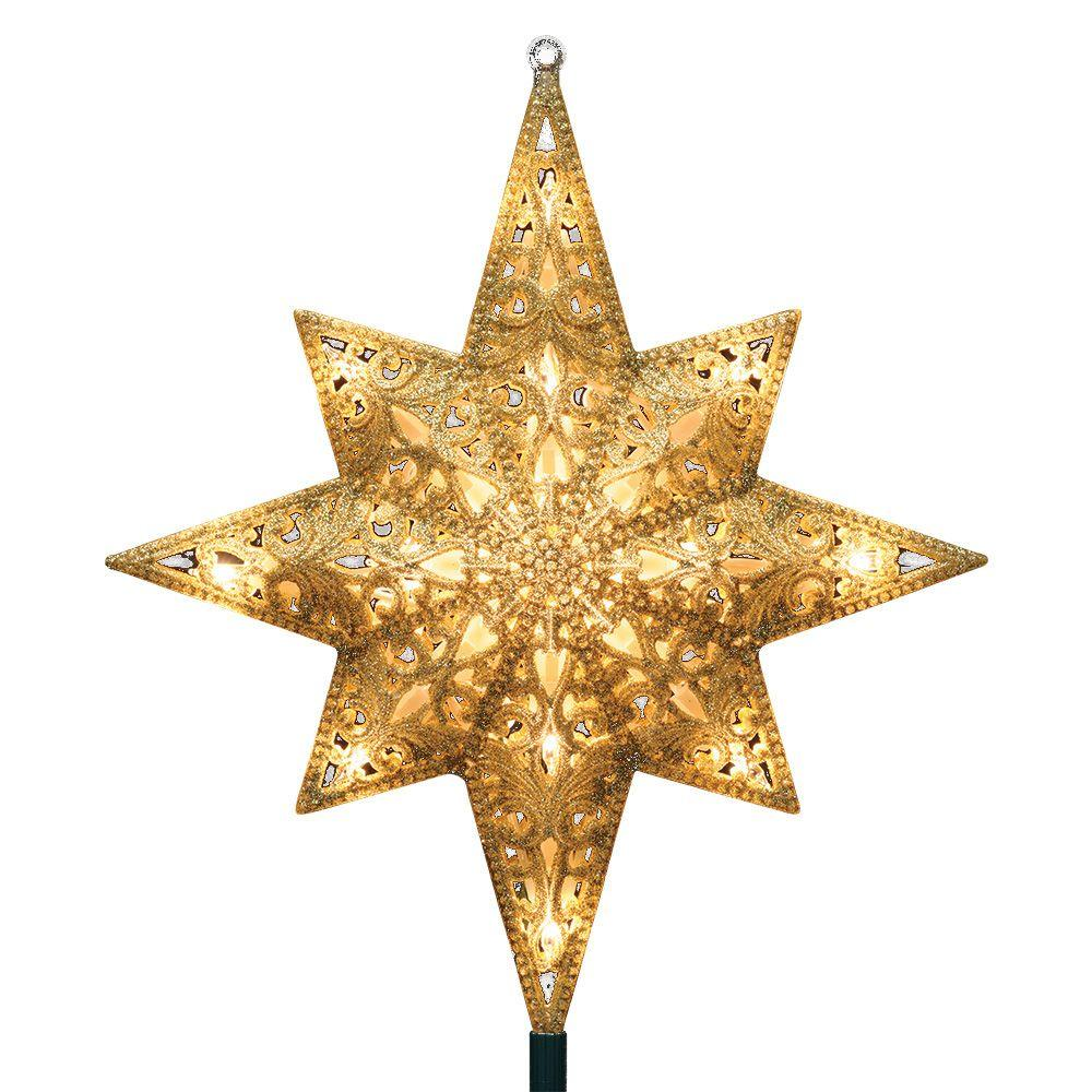 Star For A Christmas Tree: GE Holiday Classics 11 In. 16-Light Gold Glittered