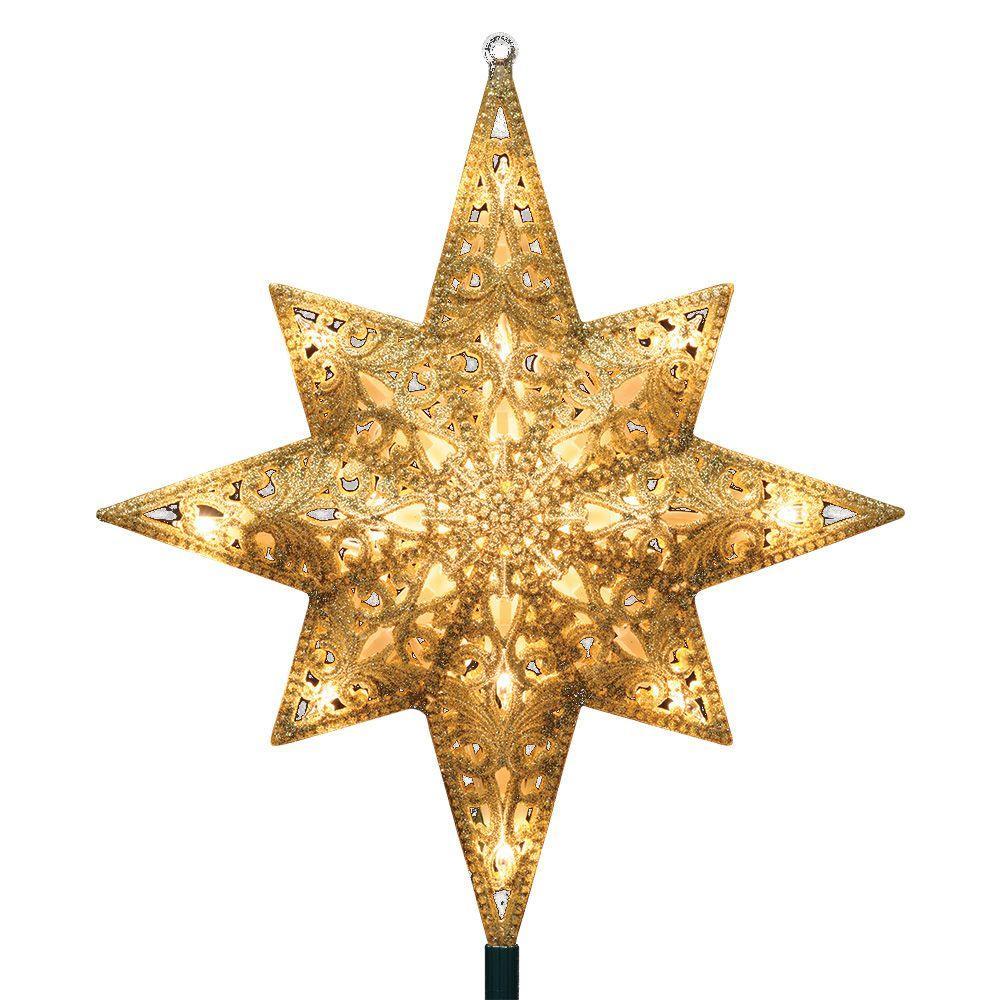 Ge Holiday Classics 11 In 16 Light Gold Glittered Bethlehem Star Tree Top
