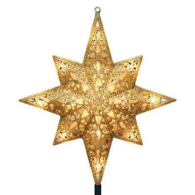 Holiday Classics 11 in. 16-Light Gold Glittered Bethlehem Star Tree Top