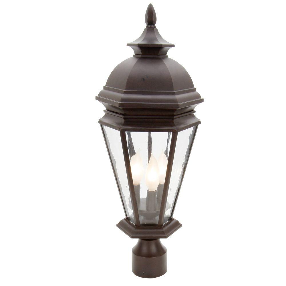 Hampton Bay Georgetown 3-Light Outdoor Bronze Post Lantern