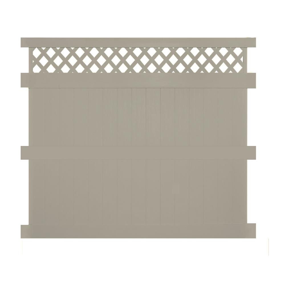 Ashton 8 ft. H x 8 ft. W Khaki Vinyl Privacy