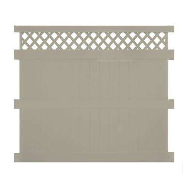 Ashton 8 ft. H x 8 ft. W Khaki Vinyl Privacy Fence Panel Kit