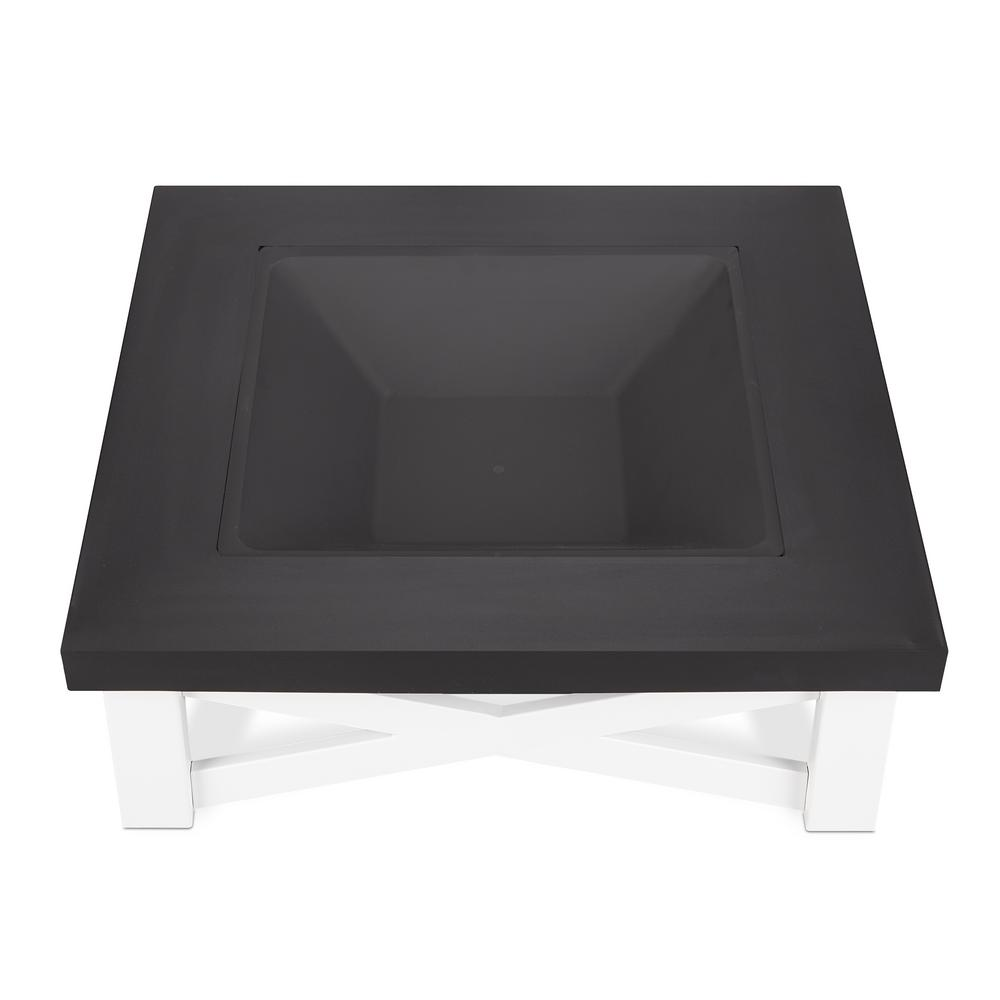 Real Flame Austin 34 in. x 11 in. Square Iron Wood-Burning Fire Pit Table in White with Black Top