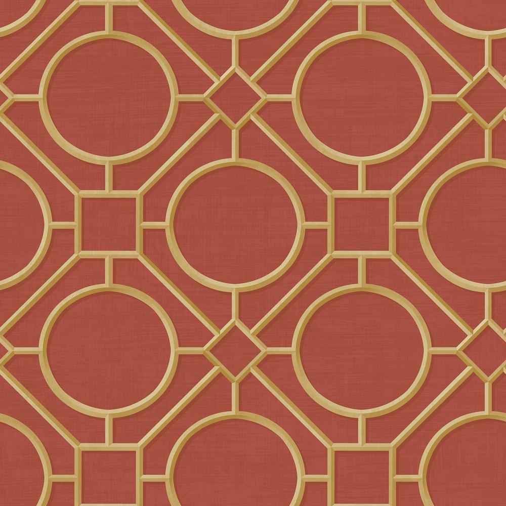 Silk Road Metallic Gold and Crimson Trellis Wallpaper