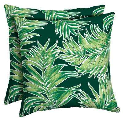 16 x 16 Emerald Quintana Tropical Square Outdoor Throw Pillow (2-Pack)