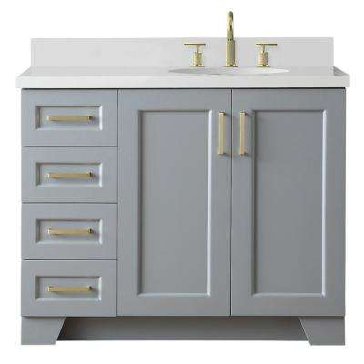 Taylor 43 in. W x 22 in. D Bath Vanity in Grey with Quartz Vanity Top in White with Right Offset White Oval Basin