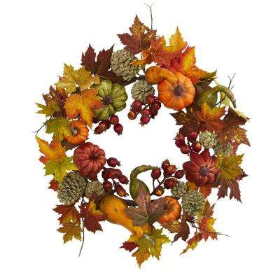 24 in. Pumpkin, Gourd, Berry and Maple Leaf Wreath