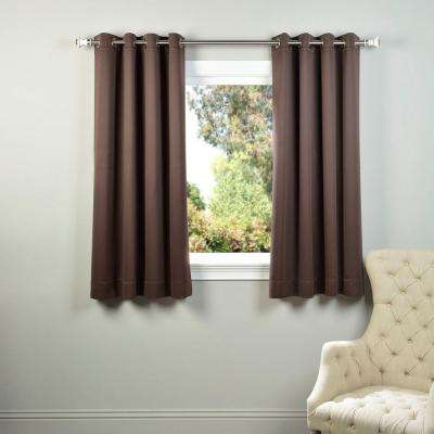 Semi-Opaque Java Brown Grommet Blackout Curtain - 50 in. W x 63 in. L (Panel)