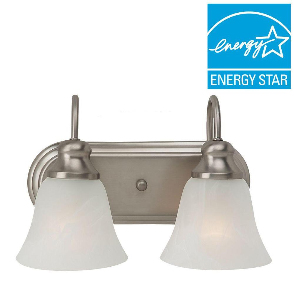 Sea Gull Lighting Windgate 2-Light Brushed Nickel Vanity Light