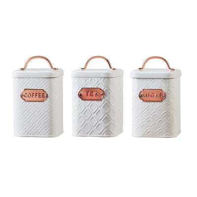 Ventana 3-Piece Metal Storage Canister Set with Textured