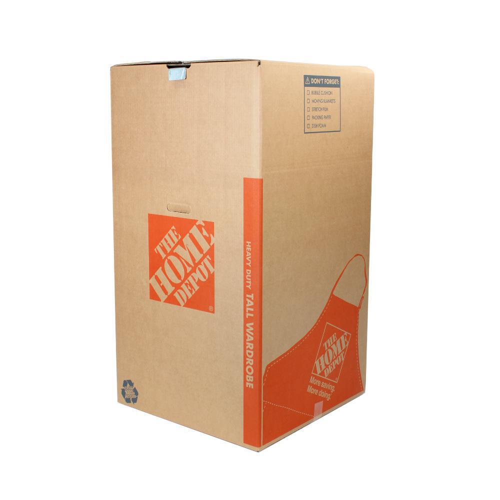 The Home Depot 24 in. L x 24 in. W x 44 in. D Heavy-Duty Tall Wardrobe Moving Box with Metal Hanging Bar and Handles