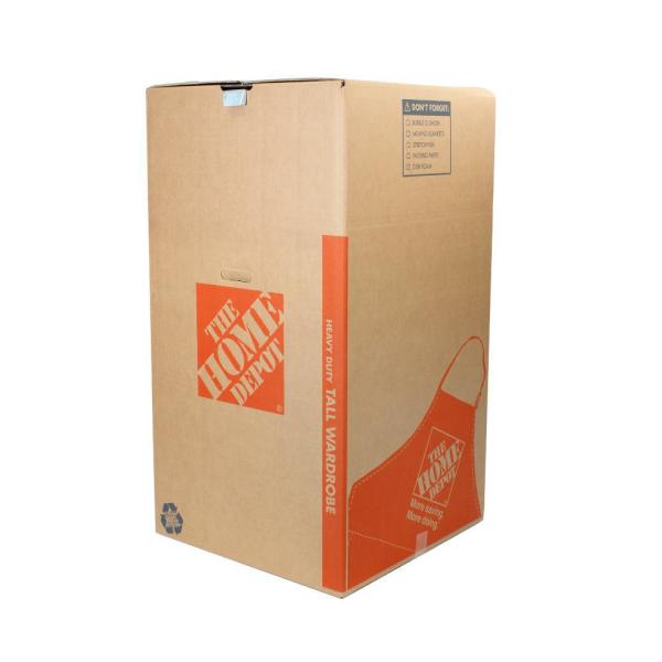 The Home Depot Heavy-Duty Tall Wardrobe Moving Box With Metal Hanging Bar And Handles (24 In. L X 24 In. W X 44 In. D)-1001020 - The Home Depot