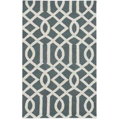 Kasbah Green, Light Grey 5 ft. x 8 ft. Area Rug