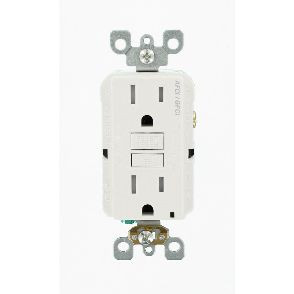 15 Amp 125-Volt AFCI/GFCI Dual Function Outlet, White (9-Pack)