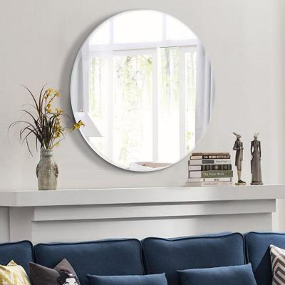 23.6in x 23.6in Modern Round Beveled Glass Wall Mounted/Hanging Vanity Mirror In Bathroom