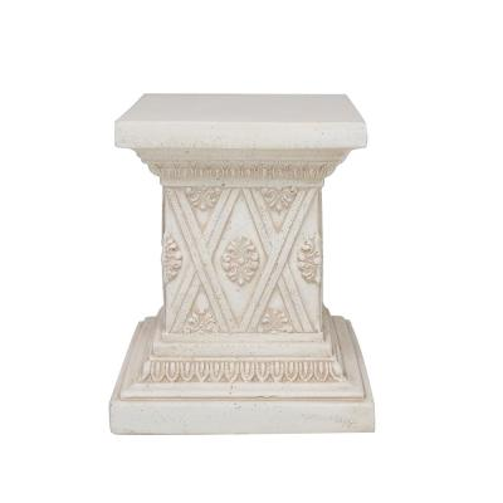 18 in. H Aged White Cast Stone Pedestal